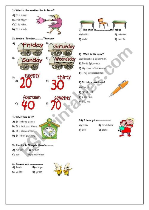 small resolution of revsion of 4th grade - ESL worksheet by eydam