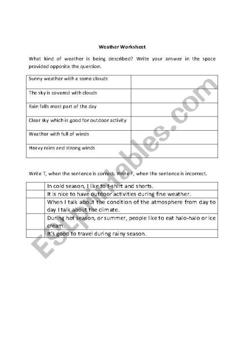 small resolution of Weather Worksheet (2nd-4th Grade) - ESL worksheet by Lyn V.