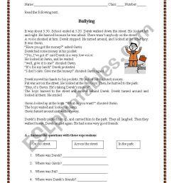 Test paper - Bullying - ESL worksheet by manuelanunes3 [ 1169 x 821 Pixel ]