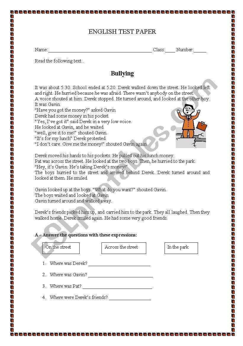 medium resolution of Test paper - Bullying - ESL worksheet by manuelanunes3