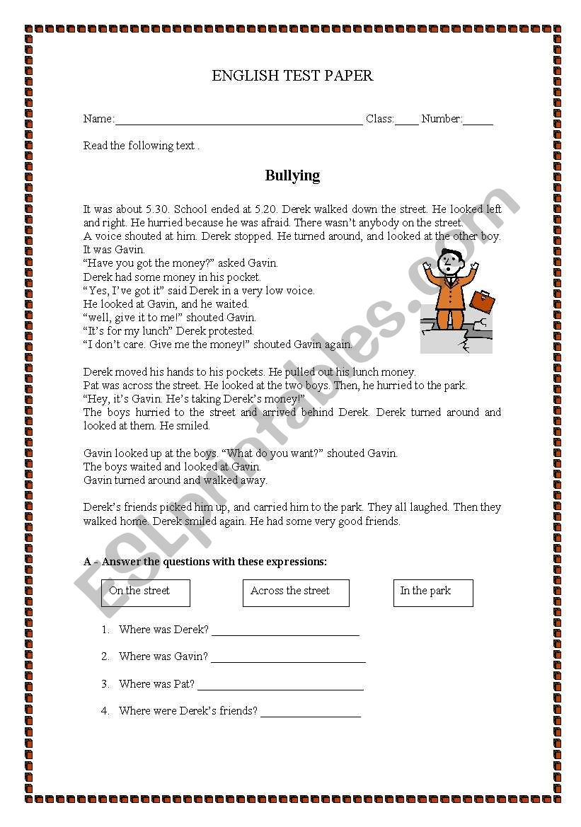 hight resolution of Test paper - Bullying - ESL worksheet by manuelanunes3