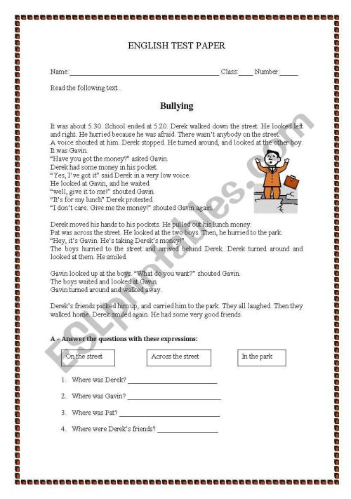small resolution of Test paper - Bullying - ESL worksheet by manuelanunes3