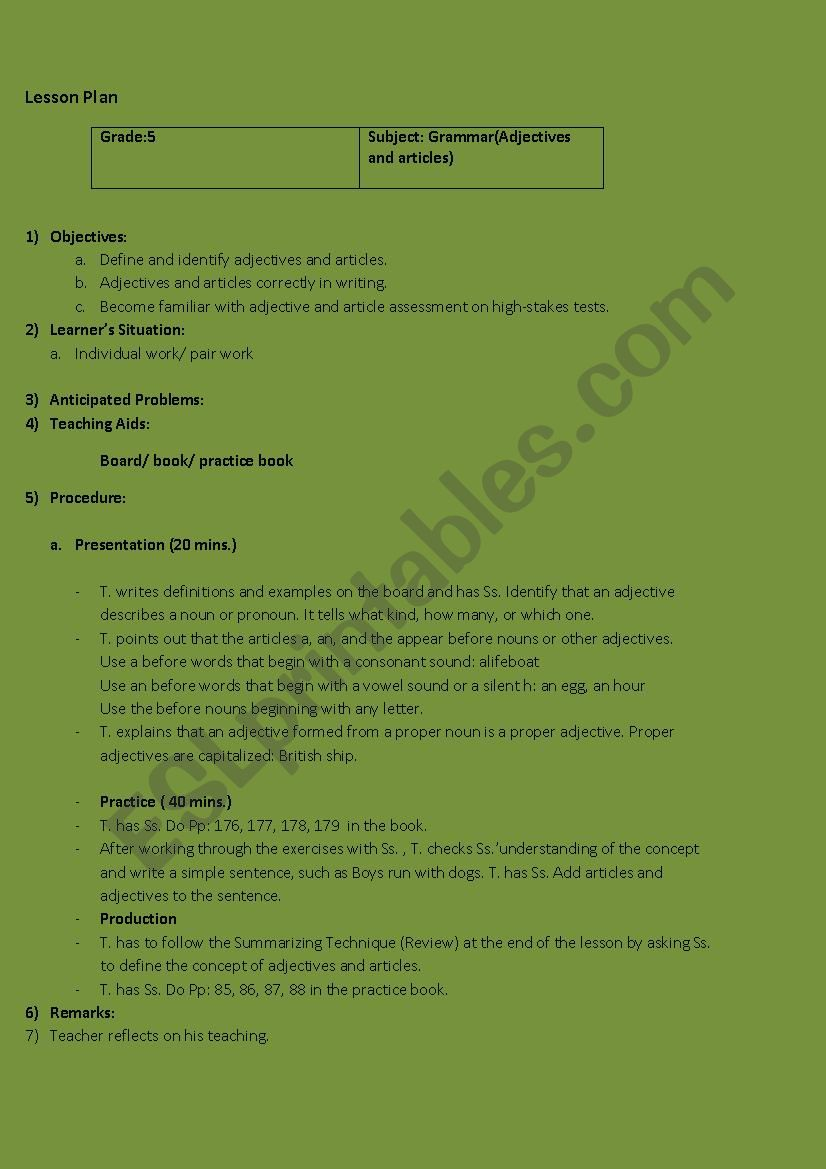 medium resolution of Lesson plan Grade 5 (adjectives and articles) - ESL worksheet by Maysam 123