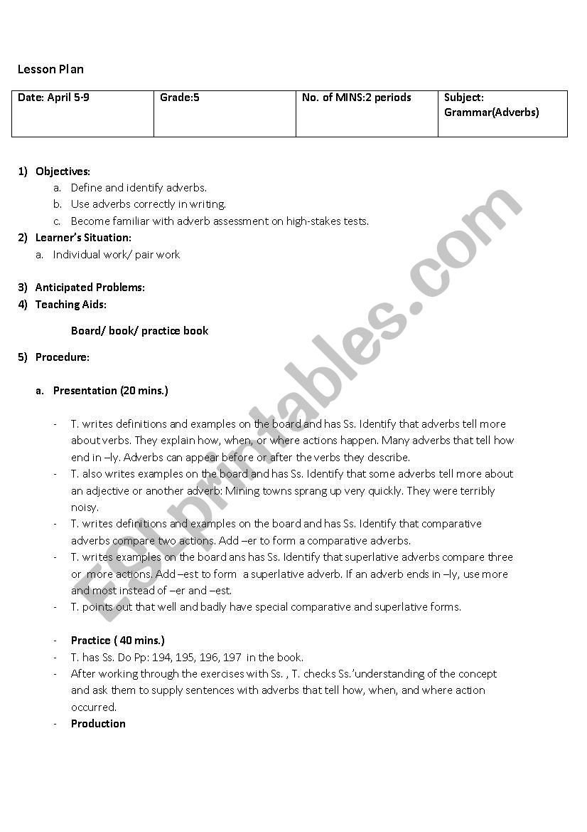 hight resolution of Lesson plan Grade 5 (Adverbs) - ESL worksheet by Maysam 123