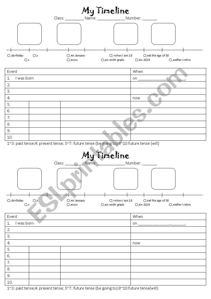 hight resolution of My Timeline - ESL worksheet by sshorng