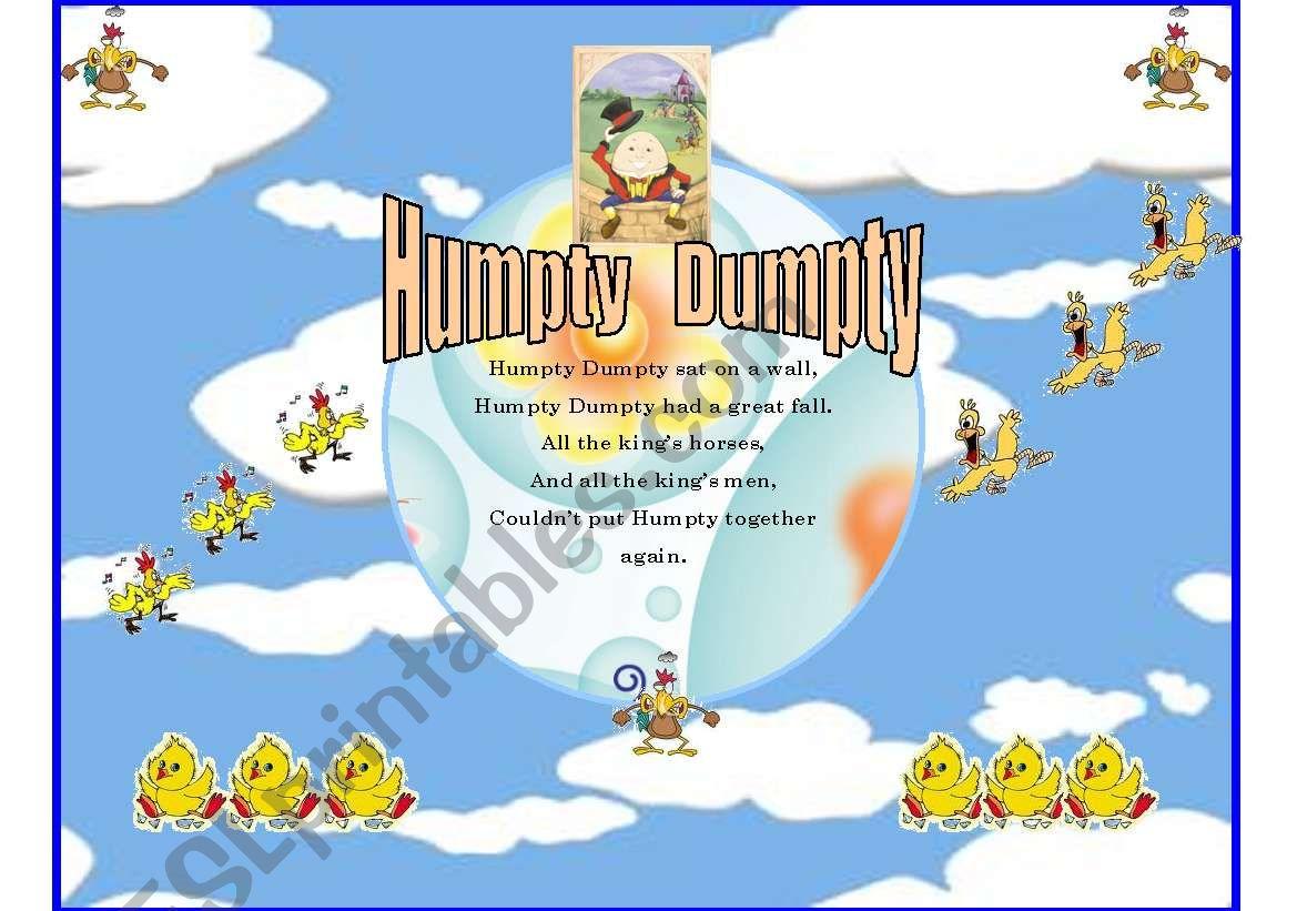 English Worksheets Humpty Dumpty