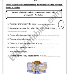 narrative elements quiz - ESL worksheet by hanaa mohammed [ 1169 x 826 Pixel ]