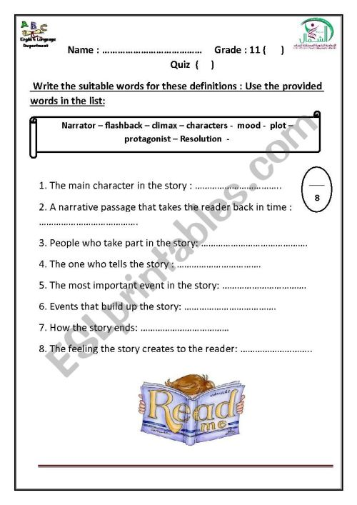 small resolution of narrative elements quiz - ESL worksheet by hanaa mohammed