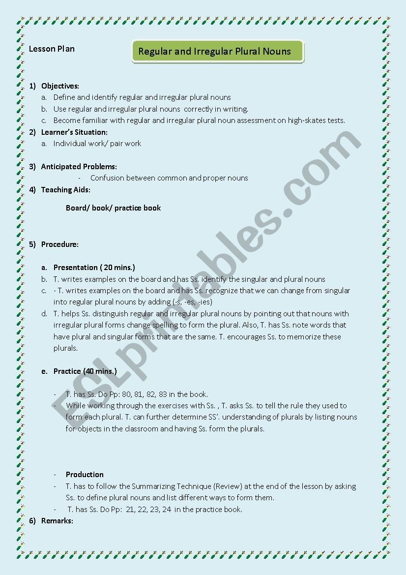 medium resolution of Lesson plan Grade 5 (regular and irregular plural nouns) - ESL worksheet by  Maysam 123