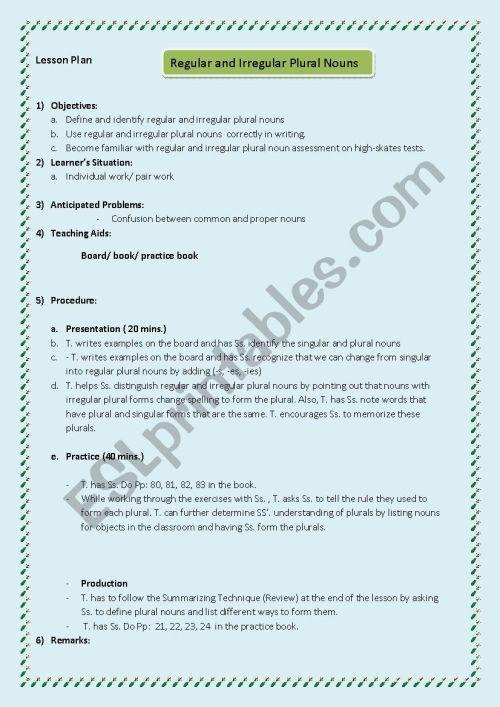 small resolution of Lesson plan Grade 5 (regular and irregular plural nouns) - ESL worksheet by  Maysam 123
