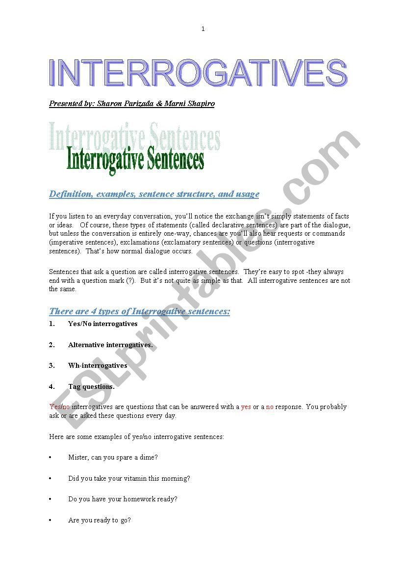 hight resolution of Interrogatives - ESL worksheet by roshpaz
