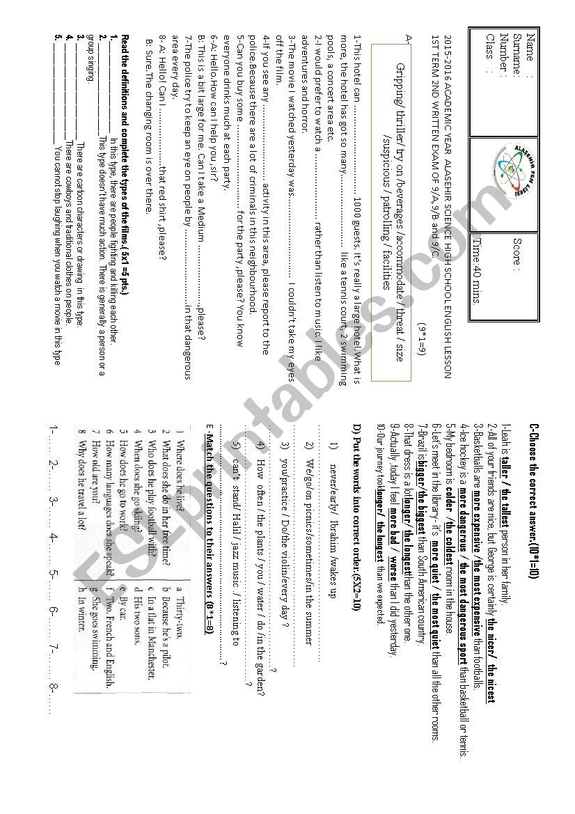 medium resolution of 2nd written exam for the 9th grade - ESL worksheet by loty