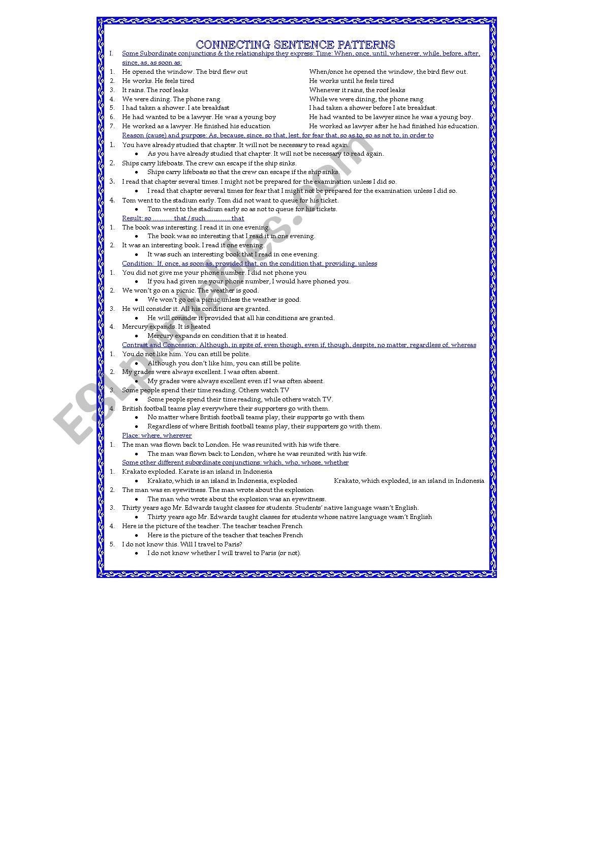 Connecting Sentence Patterns Subordination Amp Coordination