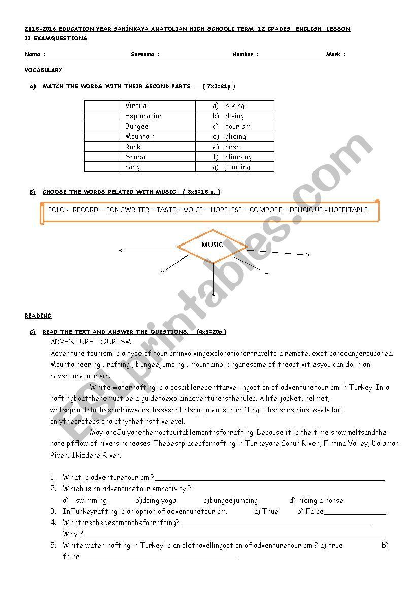 hight resolution of exam for 12th grade - ESL worksheet by kubraemrah