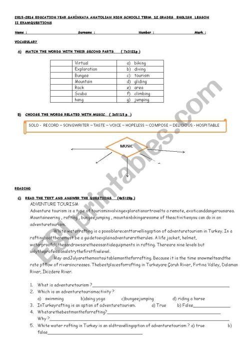 small resolution of exam for 12th grade - ESL worksheet by kubraemrah