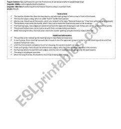 warm-up:Natural Resources and the Promotions of Conservation - ESL worksheet  by Sofi94 [ 1169 x 826 Pixel ]