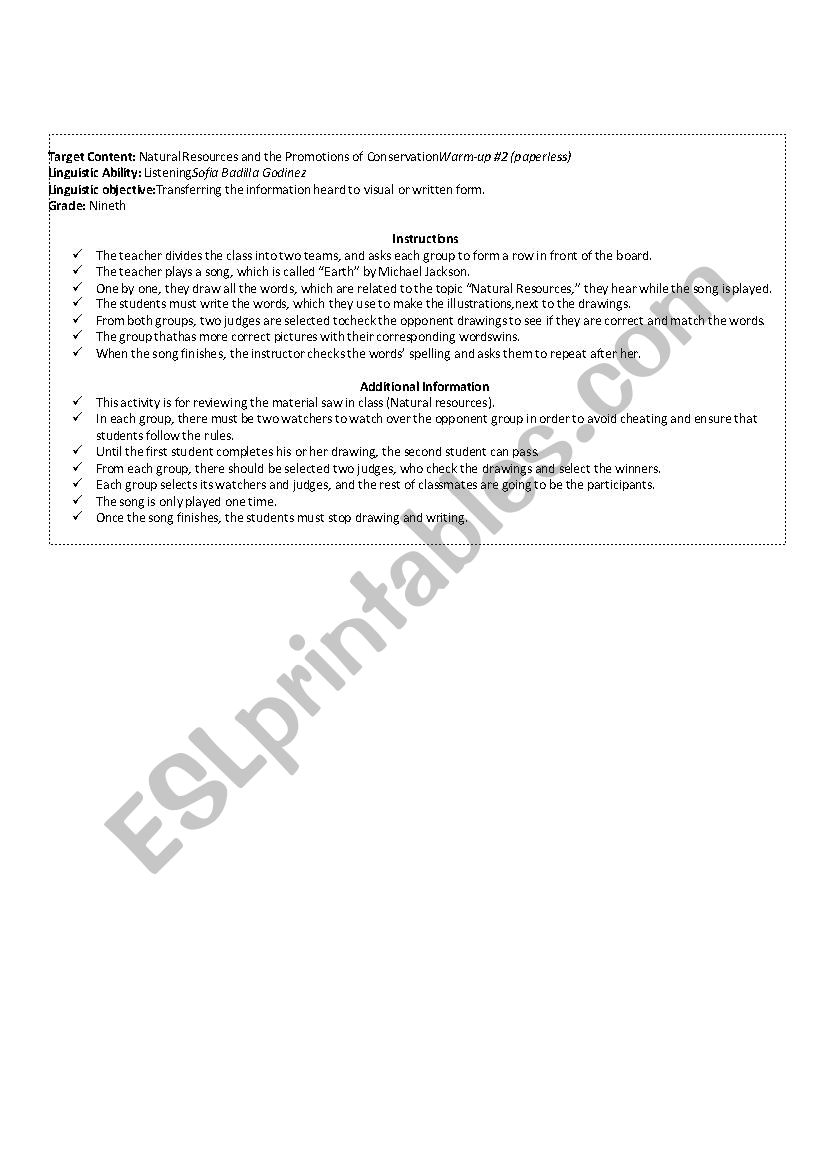 hight resolution of warm-up:Natural Resources and the Promotions of Conservation - ESL worksheet  by Sofi94