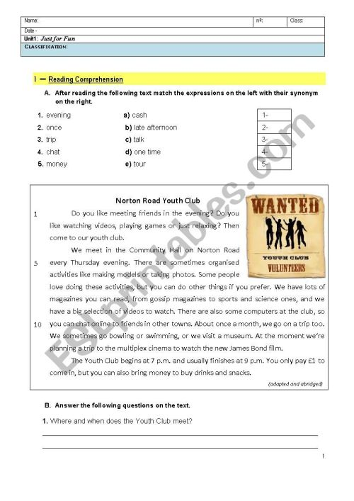 small resolution of Just for Fun - 8th Grade English Test - ESL worksheet by maryrute