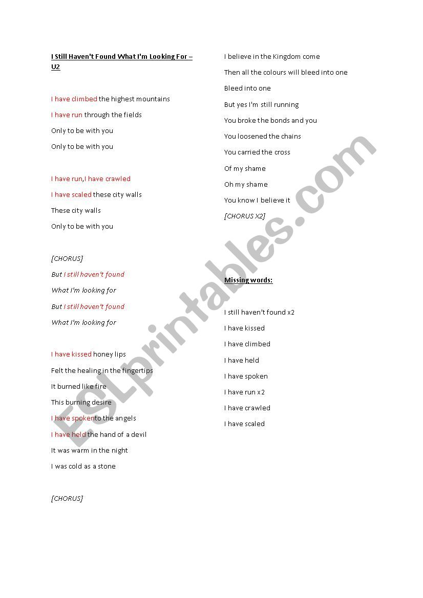 Present perfect U2 Still haven´t found what I´m looking