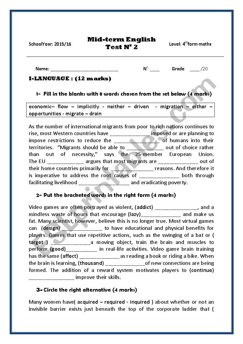 medium resolution of 4th form mid-term test 2 - ESL worksheet by gharbi2009