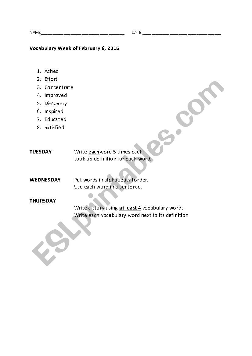 hight resolution of Vocabulary 3rd Grade - ESL worksheet by aakins9112