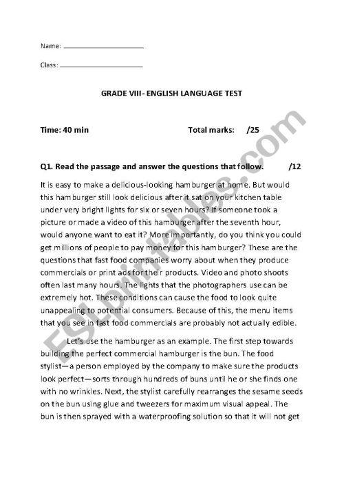 small resolution of english language test grade 8 - ESL worksheet by hk91