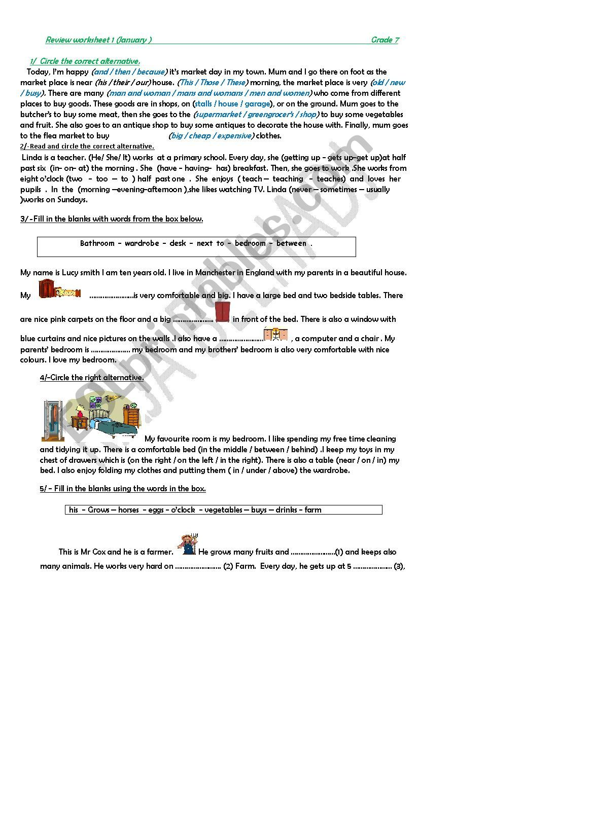 Revision Worksheet Module 3 Grade 7 Tunisian Programme