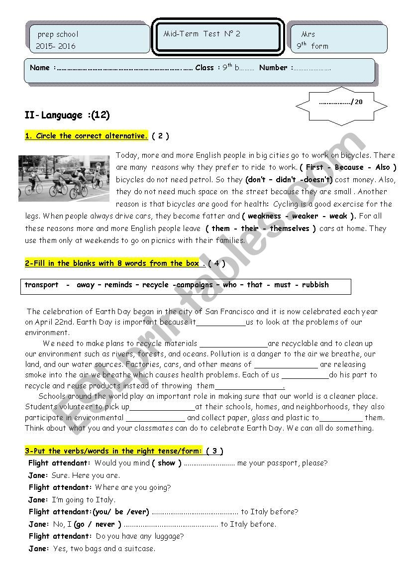 hight resolution of Mid-term test n° 2 9 th grade - ESL worksheet by marane