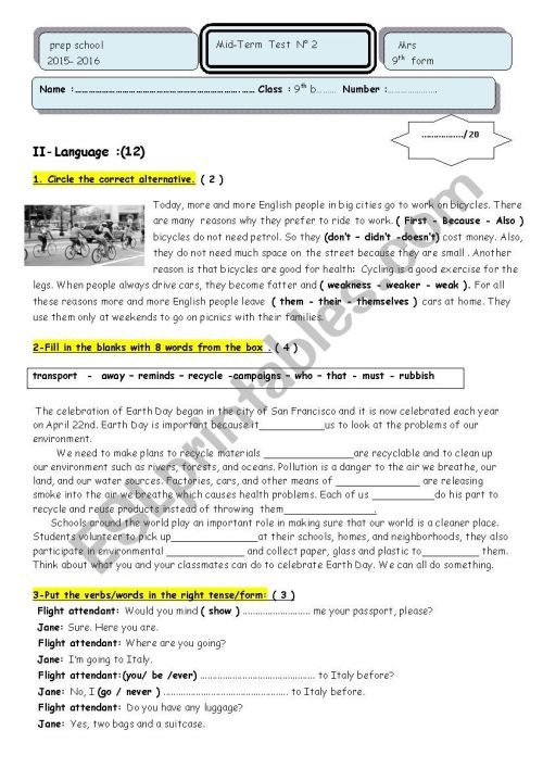 small resolution of Mid-term test n° 2 9 th grade - ESL worksheet by marane