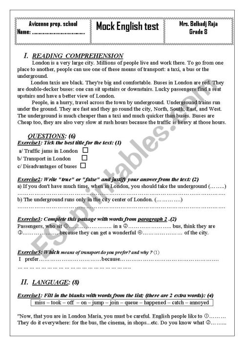 small resolution of end of term test 2 grade 8 Tunisian programme - ESL worksheet by wafakharrat