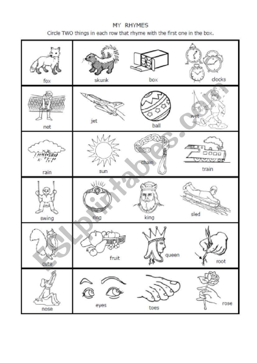 hight resolution of 1-syllable Rhymes 1st grade - ESL worksheet by nwagdy