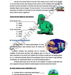 Dinosaurs Reading Comprehension - ESL worksheet by Cyn. [ 1389 x 838 Pixel ]