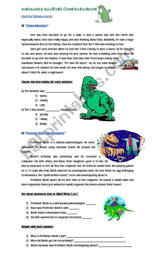 small resolution of Dinosaurs Reading Comprehension - ESL worksheet by Cyn.