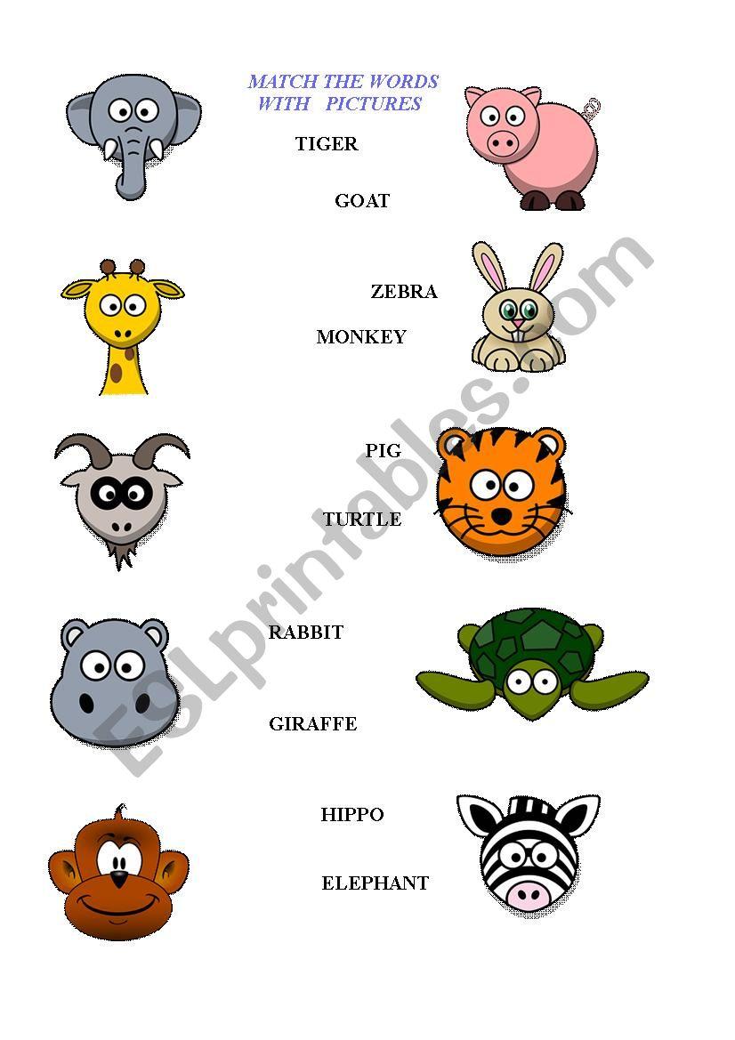 hight resolution of Animals worksheet - kids - ESL worksheet by Blanc1984
