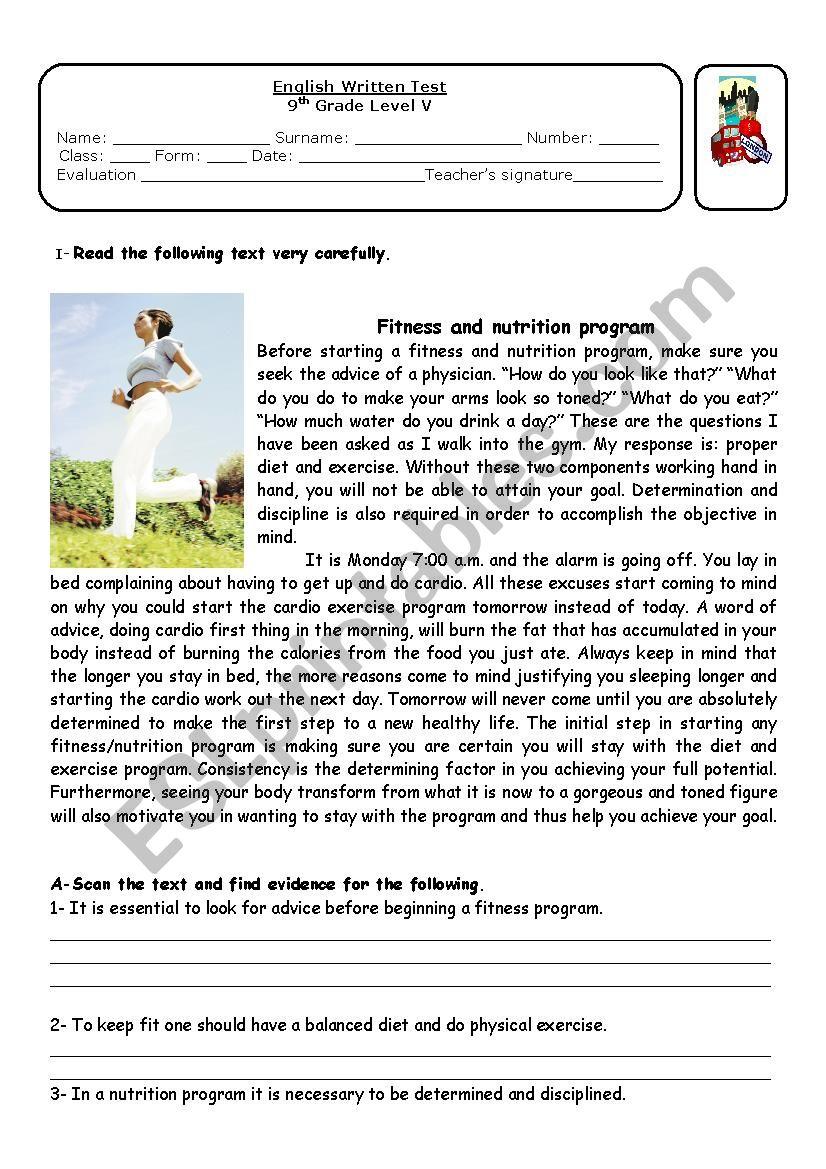 medium resolution of Fitness and nutrion - ESL worksheet by ap13071962