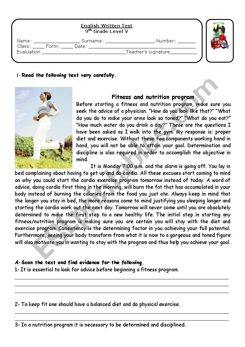 hight resolution of Fitness and nutrion - ESL worksheet by ap13071962