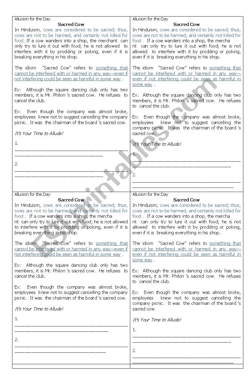 hight resolution of Allusion Figure of Speech Worksheet for Grade 10 / Fourth Year High School  - ESL worksheet by artjo123