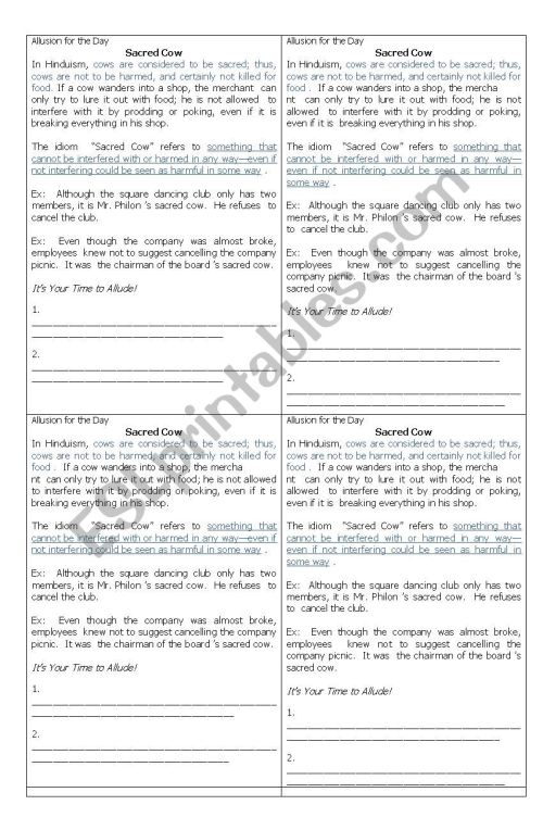 small resolution of Allusion Figure of Speech Worksheet for Grade 10 / Fourth Year High School  - ESL worksheet by artjo123
