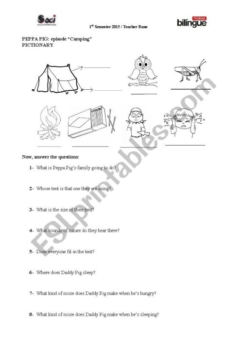 small resolution of peppapig camping worksheet