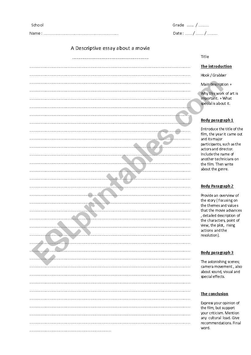 hight resolution of essay format for writing a descriptive essay - ESL worksheet by aall76