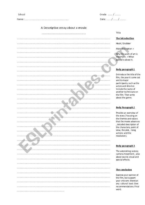 small resolution of essay format for writing a descriptive essay - ESL worksheet by aall76