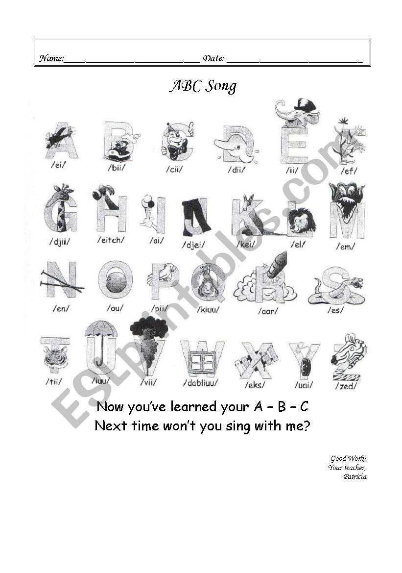 English worksheets: ABC Song lyrics