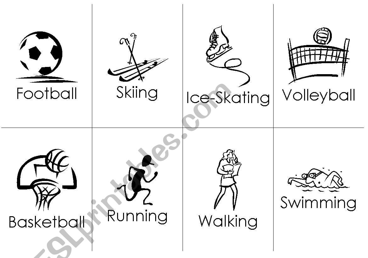 20 Sports Flashcards Sport Name 8up B Amp W