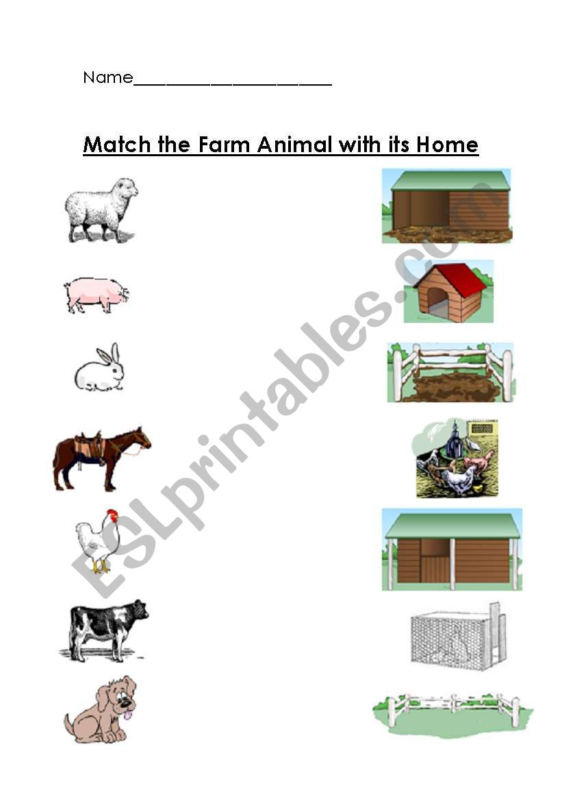Farm Animals And Their Home Matching Worksheet Esl Worksheet By Teacher2009
