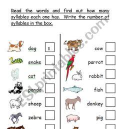 phonological awareness - number of syllables worksheet - animal theme - ESL  worksheet by teacher2009 [ 1169 x 821 Pixel ]