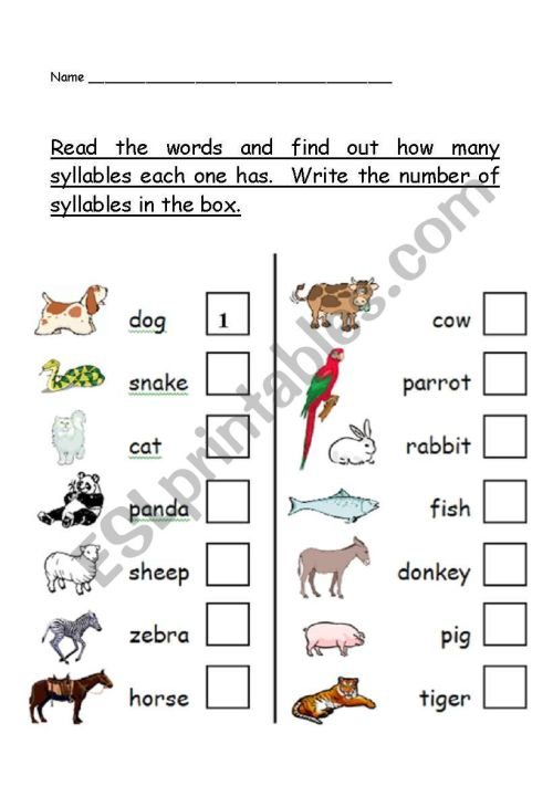 small resolution of phonological awareness - number of syllables worksheet - animal theme - ESL  worksheet by teacher2009