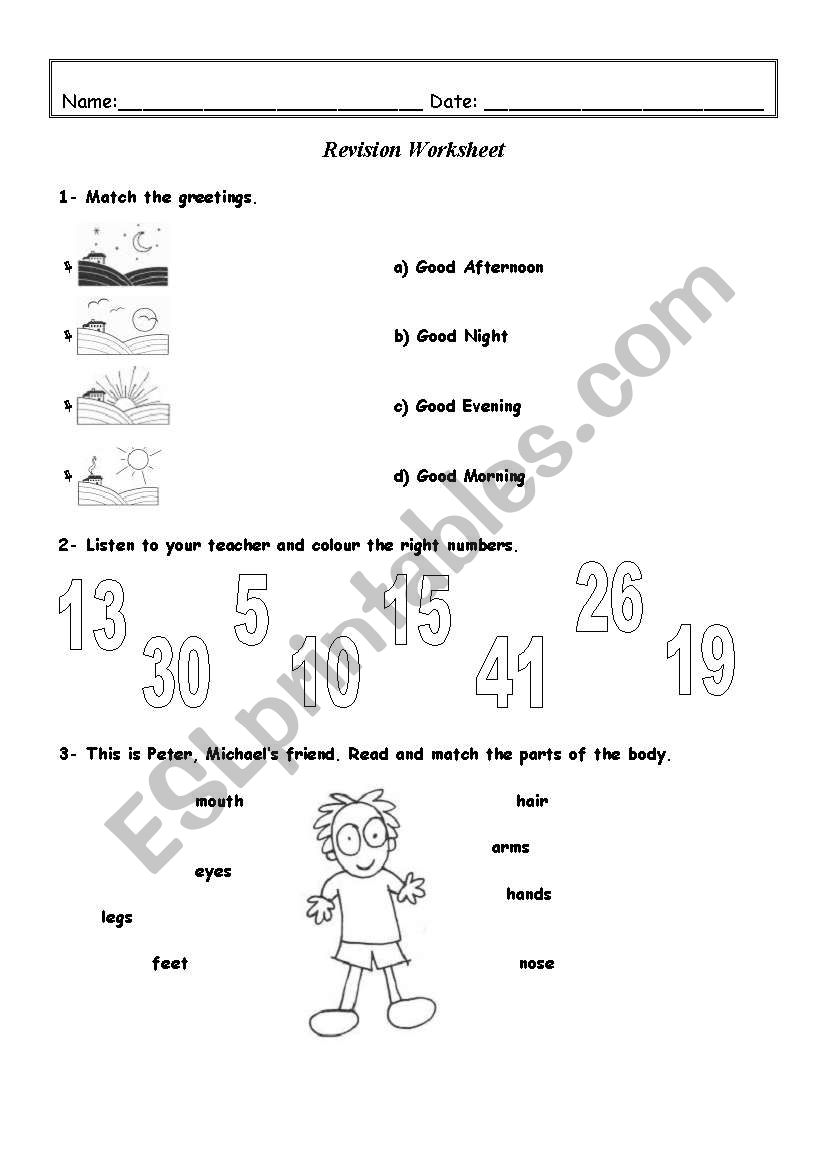 medium resolution of Revision worksheet - 3rd / 4th Grade (4 pages) - ESL worksheet by Kita19