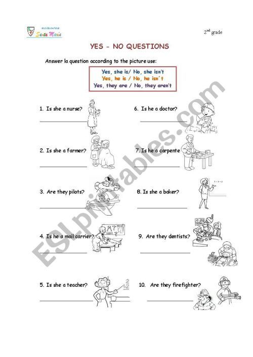 small resolution of professions(yes -no questions) - ESL worksheet by kepc