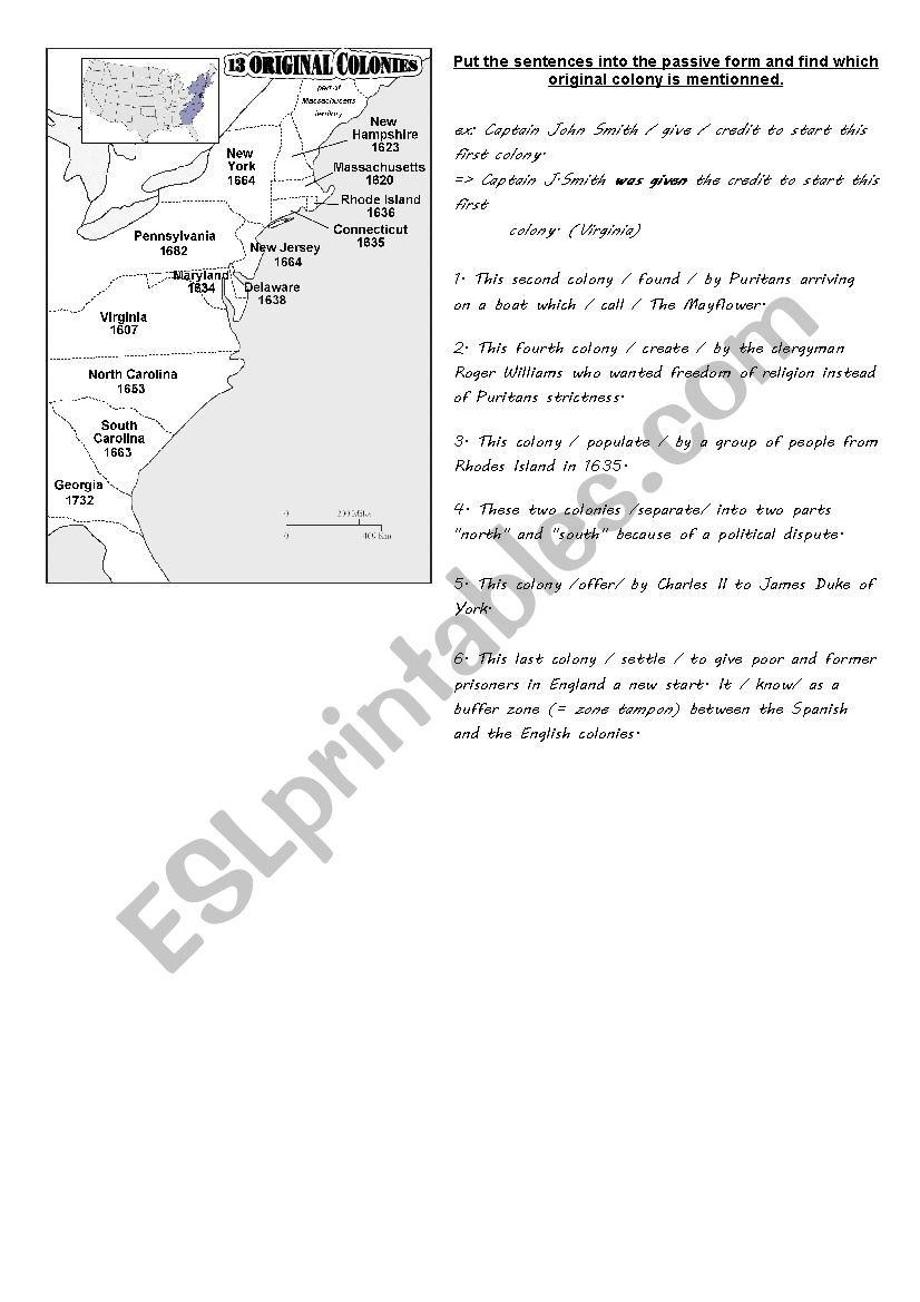 The Thirteen English Colonies Worksheet