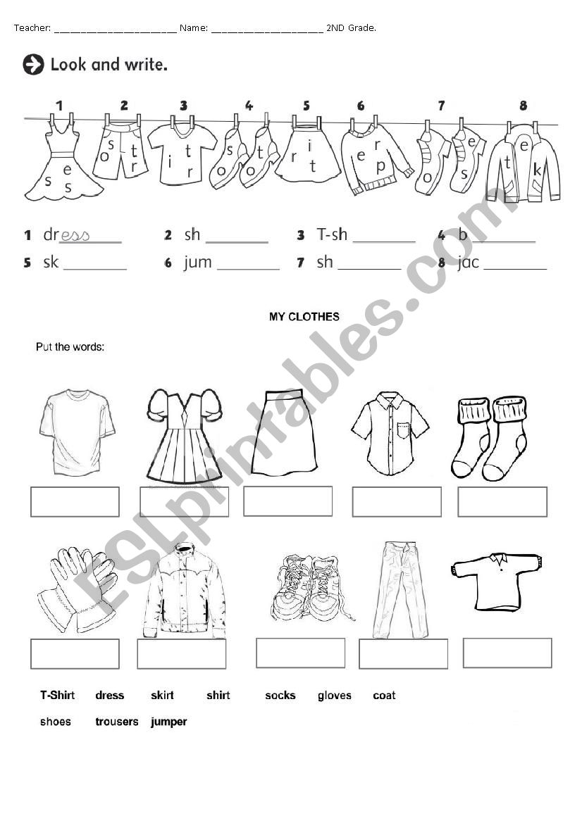 hight resolution of Clothes - ESL worksheet by Pombinha